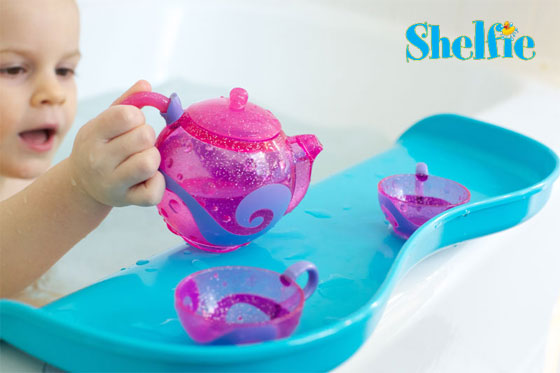 shelfie bathtub water saver Tiny Tots Tuesdays: No More Soppy Towels at Bathtime, Use the Shelfie!