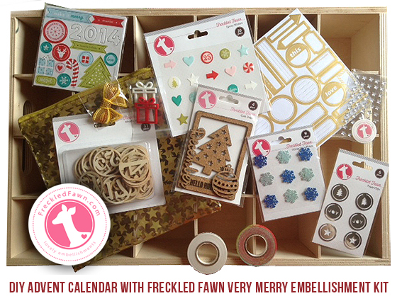 freckled fawn very merry kit review2 Holiday 2014: DIY Advent Calendar with Freckled Fawn Very Merry Embellishment Kit